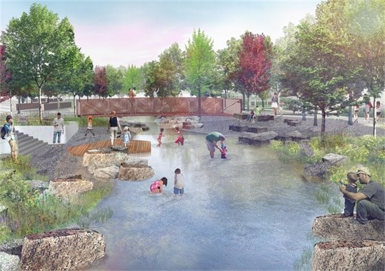 Design Rendering of Interactive River Channel